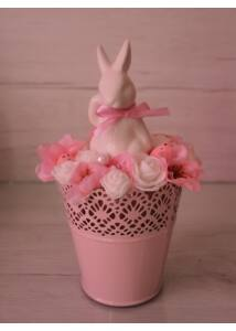 Fehér nyuszi rózsaszín kaspóban
